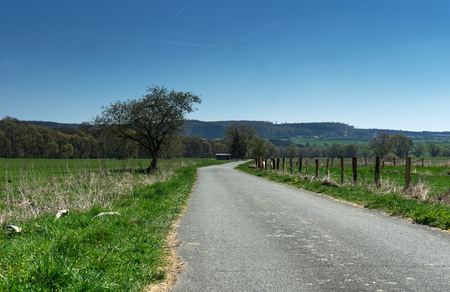 Agricultural path at the nature sanctuary near the german city called Hallenberg in the Rothaargebirge