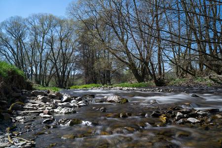 Time exposure of the river Nuhne at spring in the german region Rothaargebirge