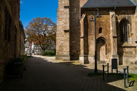 City view at the Saint Kilian church in the german city Korbach at spring Stock Photo