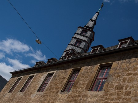 Old town house of the german city Korbach with blue sky
