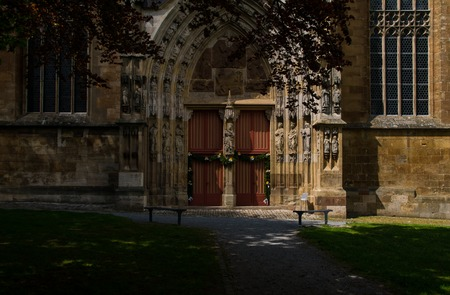 South entry to the Saint Kilian church in the city Korbach