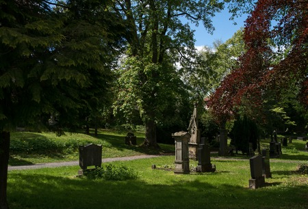 Old cemetery at the town wall from the german city Korbach Stock Photo