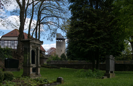 Old cemetery with the tower called Tylenturm in the city Korbach