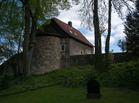 Old town wall with the tower called Roter Turm in the german city Korbach