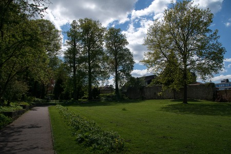 Public park at the old town wall in the german city Korbach Stock Photo