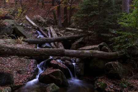 Time exposure of a river called Ilsefaelle in the german region Harz Stockfoto - 131586015