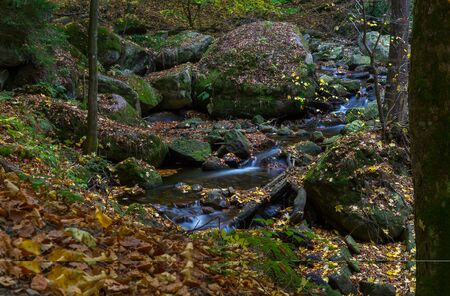 Time exposure of a river called Ilsefaelle in the german region Harz Stockfoto - 131586184