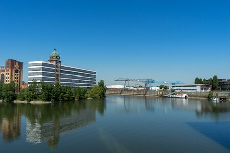 View to the old Plange mill at the german city Duesseldorf Stockfoto