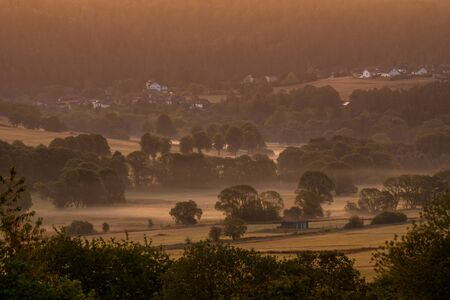 Sunrise at autumn in the area called Nuhnewiese Stockfoto