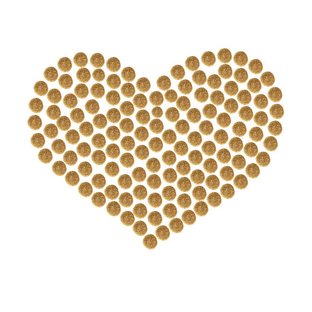 granules: Heart collected from granules of brown dry pet (cat or dog)food on the white background