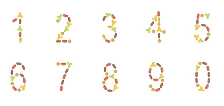 arabic numerals: Arabic numerals of dry cat and dog food, isolated on white background.