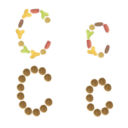 cat alphabet: English alphabet ABC of dry cat and dog food, isolated on white background. Letter C