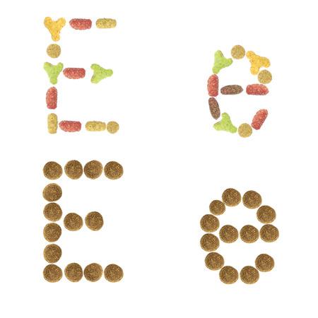 cat alphabet: English alphabet ABC of dry cat and dog food, isolated on white background. Letter E.