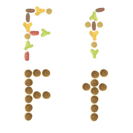 cat alphabet: English alphabet ABC of dry cat and dog food, isolated on white background. Letter F.