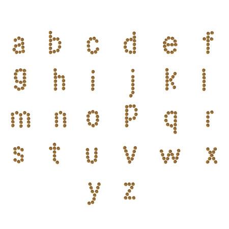 engels alfabet abc van droge kat en hondenvoer, geïsoleerd op een