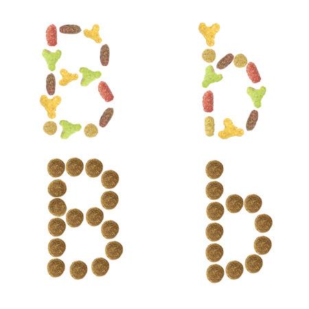 cat alphabet: English alphabet ABC of dry cat and dog food, isolated on white background. Letter B