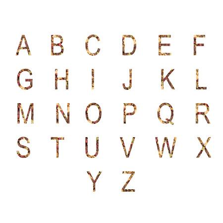 cat alphabet: English alphabet ABC of dry cat and dog food, isolated on white background.