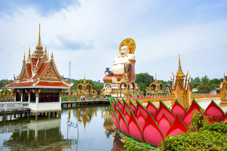 buddah: SAMUI, THAILAND - JULY 02, 2016: Sculpture of Happy Buddah in the temple Wat Plai Laem