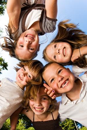 Happy Kids looking down