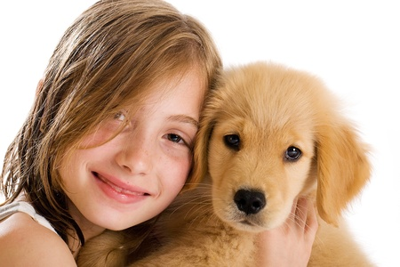 Kid and Puppy Stock Photo - 10333518