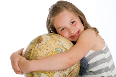 kid hugging globe of planet Earth photo