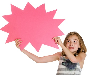 child holding blank sign photo