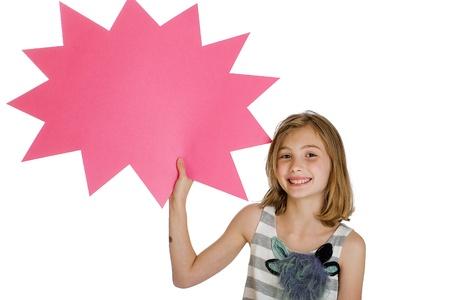 child holding sign: child holding blank sign