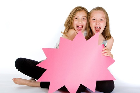 Kids witha  blank sign Stock Photo - 10164027