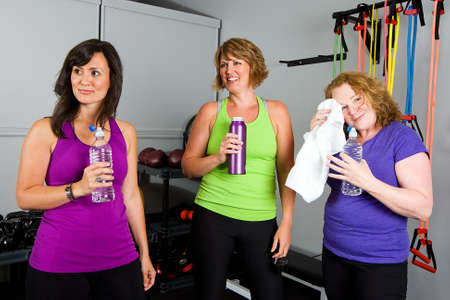 Group of women relaxing after workout Stock Photo