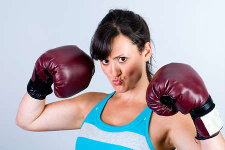 strong: Strong woman wearing boxing gloves Stock Photo