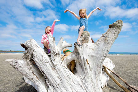 children playing at the beach photo