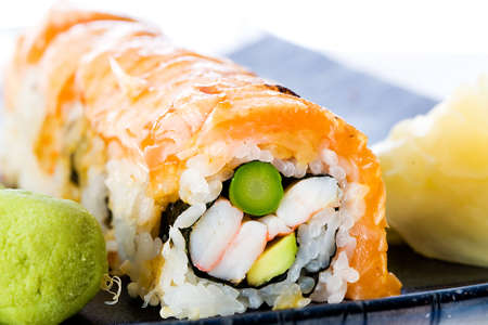 seared: Sushi roll with salmon seared rare Stock Photo