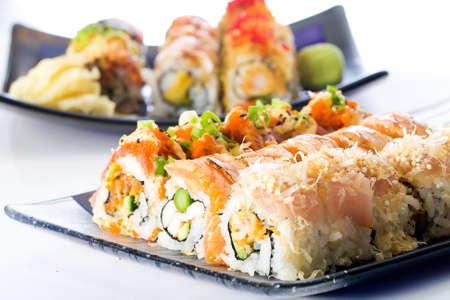 seared: Sushi rolls with raw fish