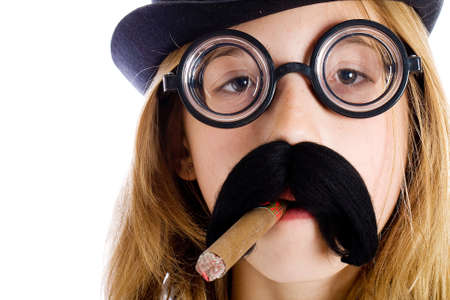 novelty: Young child in a mustache disguise smoking a cigar