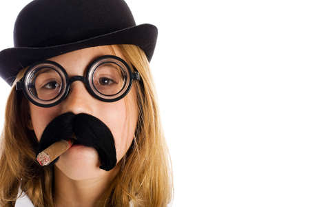 Young child in a mustache disguise smoking a cigar