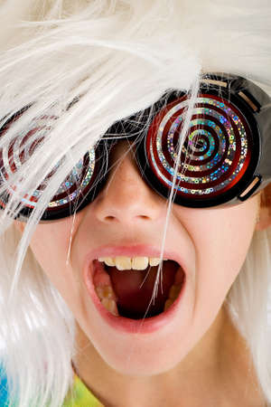 mad girl: excited kid with funny glasses