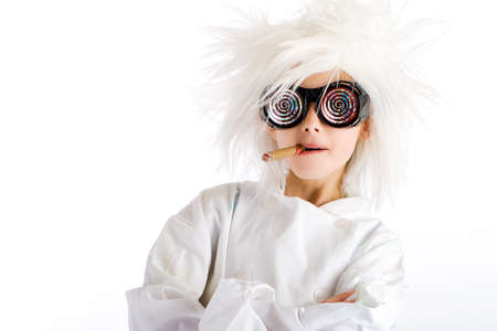 crazed: Weird looking kid with wild white wig and hypnotic glasses, smoking a cigar Stock Photo