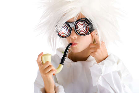 3d weird: funny kid smoking a pipe Stock Photo