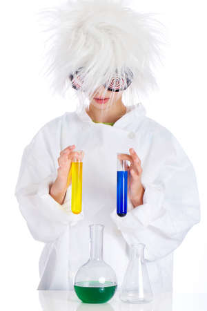 child performing experiment in laboratory photo
