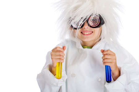 happy child scientist with colorful experiment photo