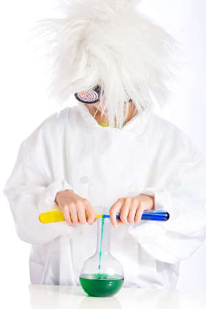 Mad Scientist performing experiment Stock Photo - 10849603