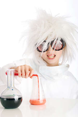 Mad scientist performing an experiment photo