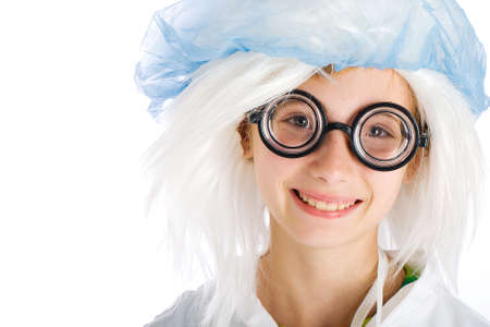 cute girl wearing nerd glasses and surgical clothes Stock Photo - 10704394