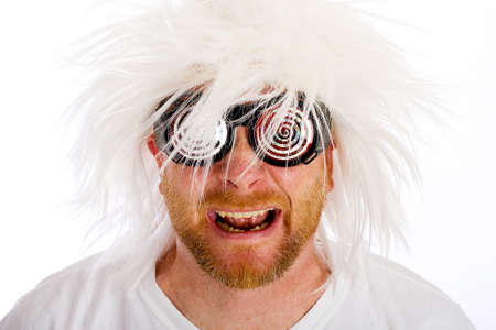 man nuts: crazy man with a wild white wig and crazy glasses Stock Photo