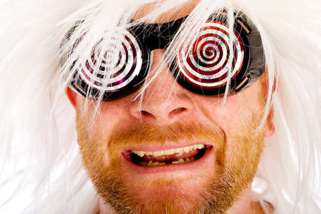 Crazy man with wild glasses Stock Photo