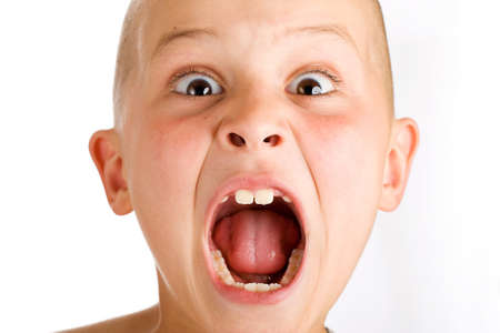shaved head: wild boy screaming loud