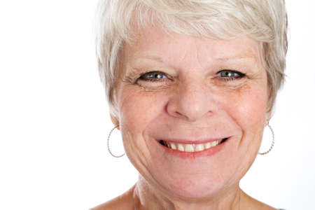 happy mature woman with white hair