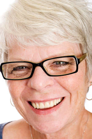 happy mature woman with white hair photo