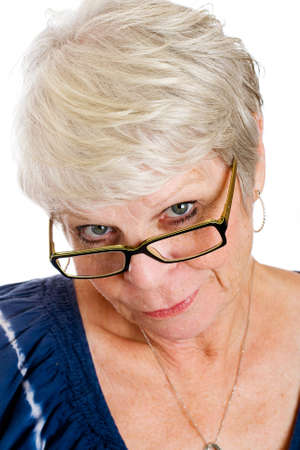 mature woman with skeptical look on her face
