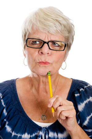 confused woman: mature woman concentrating